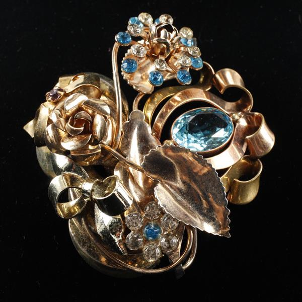 Monet Vintage Retro Sterling Vermeil Floral Bow Brooch Pin with blue jewels.