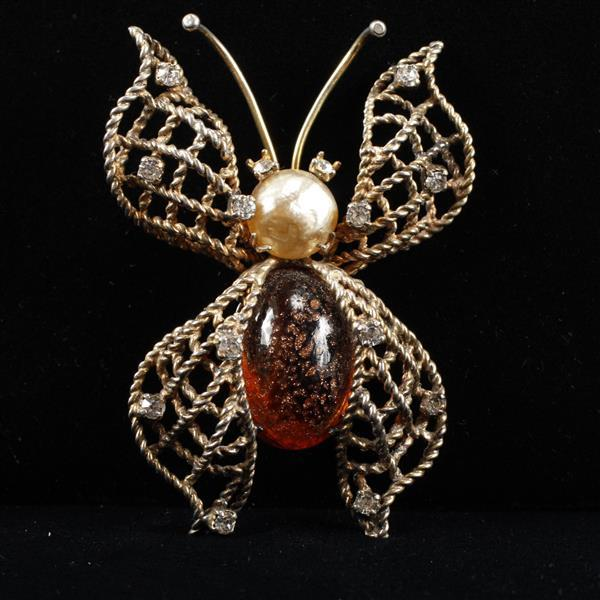 Vintage Sterling Vermeil Butterfly Figural Brooch Pin with Faux Pearl, rhinestones & Amber Glass Jelly