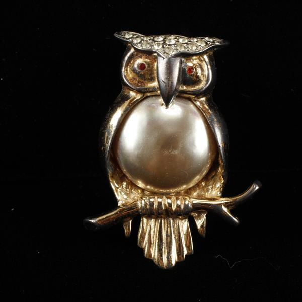 Marslieu Sterling Gilt Owl Figural Brooch Pin with faux pearl belly and rhinestones