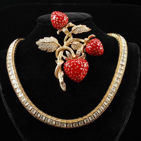 Ciner 2pc. Necklace with colorless jewels & enameled strawberry brooch pin.