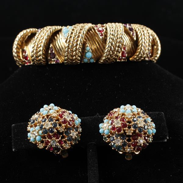 Ciner 2pc. Bracelet & Floral Clip Earrings with teal blue cabochons & rhinestones