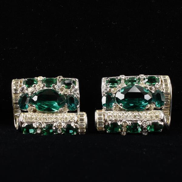 Weinberg New York Retro Pave and Emerald Rhinestone Rhodium Plated Clip Earrings