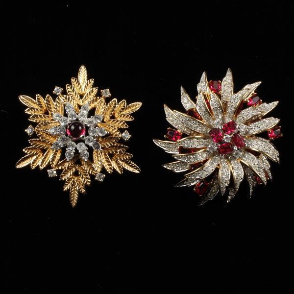 Jomaz 2pc. Snowflake & Diamante Starburst Brooch Pins