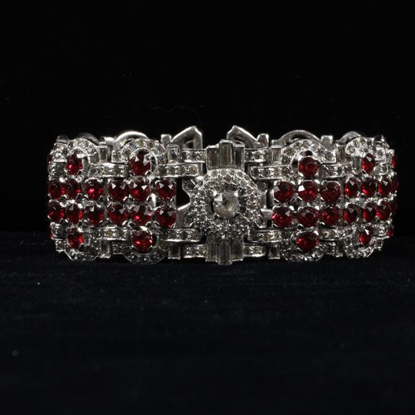 Unmarked Art Deco Bracelet; Red Ruby Glass Jewels with Clear Rhinestones.