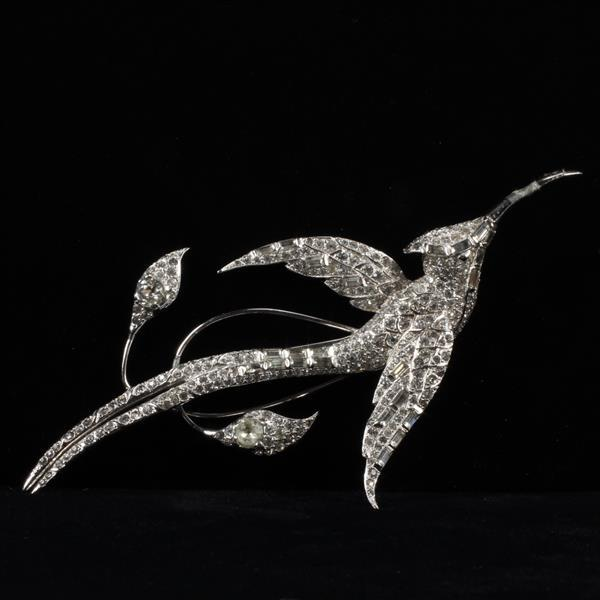 Unmarked Marcel Boucher Style Diamante Rhinestone Jeweled Hummingbird Brooch Pin
