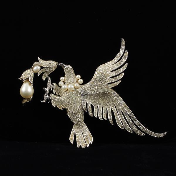 Unmarked Pave Rhinestone & Faux Pearl Phoenix Bird Brooch Pin