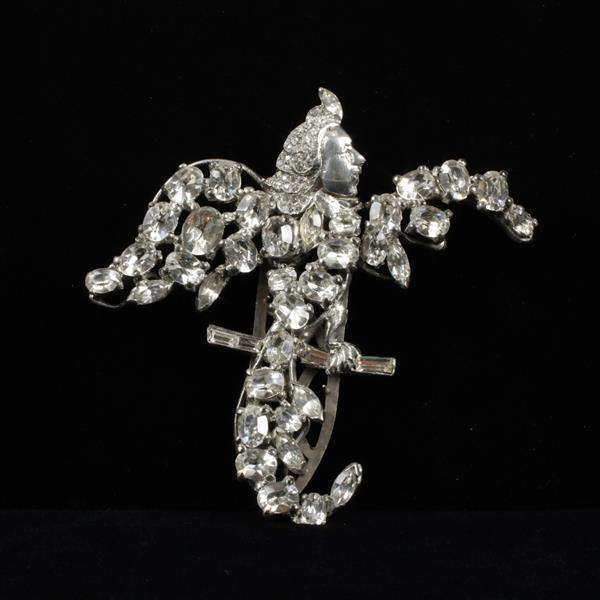 Unmarked Giant Diamante Silvertone Figural Brooch; Winged Mythological Perched Siren Woman Clip