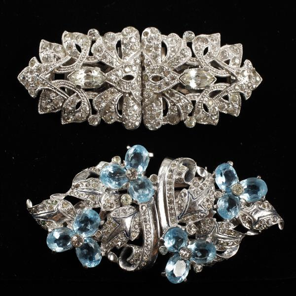 Lot of 2 Art Deco Diamante Rhinestone Duette Clips;