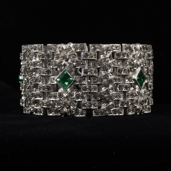 Art Deco Rhinestone Pave Bracelet with Emerald Glass Jewels & Subtle Bow Accents.