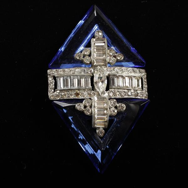 Art Deco Diamante Rhinestone Brooch Pin with Blue Crystal Step Cut Open Triangular Jewel.
