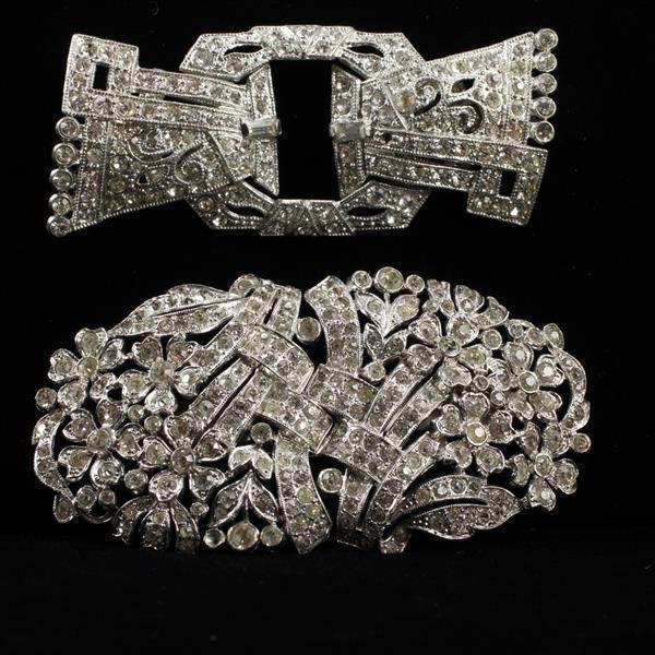 Lot of 2 Art Deco Diamante Duette Brooches Clip Mates & Coro Pins.