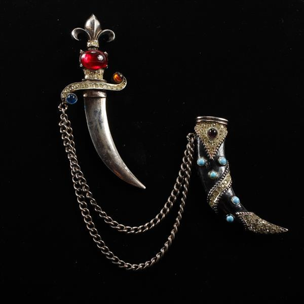 Unmarked Urie Mandle Sterling Enamel Rhinestone Dagger & Sheath Double Brooch Pin, 1947.