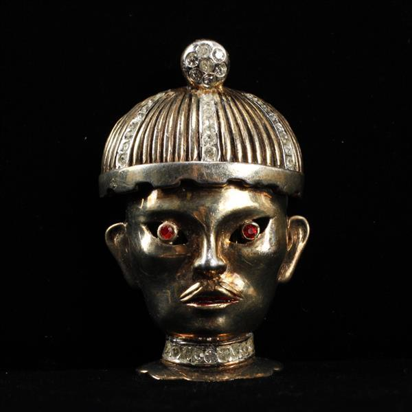 Reja Sterling Vermeil Oriental Official with Moustache and Hat; Figural Face Mask Fur Clip