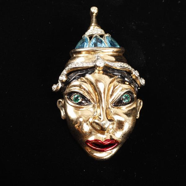 Reja Sterling Vermeil Enameled ''Balinese Mask''; Figural King Brooch Pin with Rhinestones.