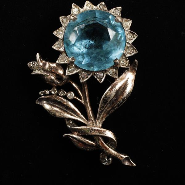 Reja Sterling Floral Brooch Pin with large blue glass jewel & rhinestones.