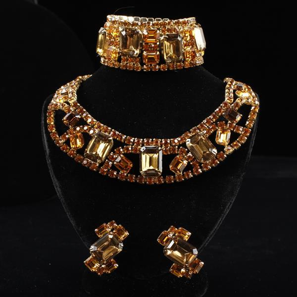 Robert Original 3pc. Set; Amber Glass Jeweled Necklace, Bracelet, & Clip Earrings