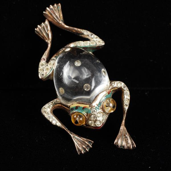 Coro Sterling Jelly Belly Figural Frog Brooch Pin with enamel & pave rhinestones.