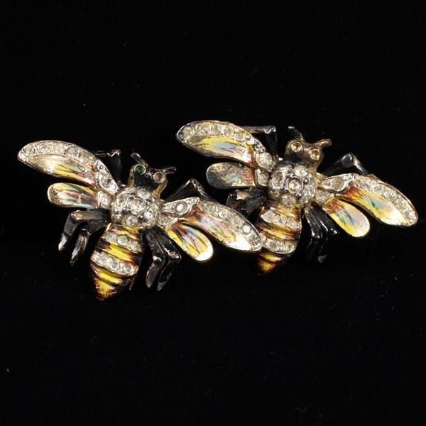 Coro Duette Enameled Bee Insect Fur Clips with rhinestones.