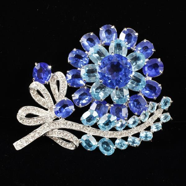 Eisenberg Ice LARGE Sapphire / Aqua Blue Glass Jewels & Rhinestone Flower Bow Brooch Pin