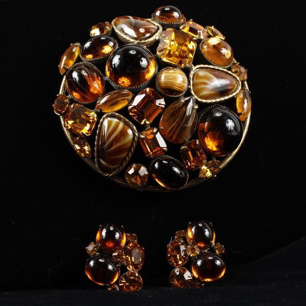 Robert Original 2pc. Set; Amber Glass Cabochons & Orange Rhinestone Brooch Pin & Clip Earrings