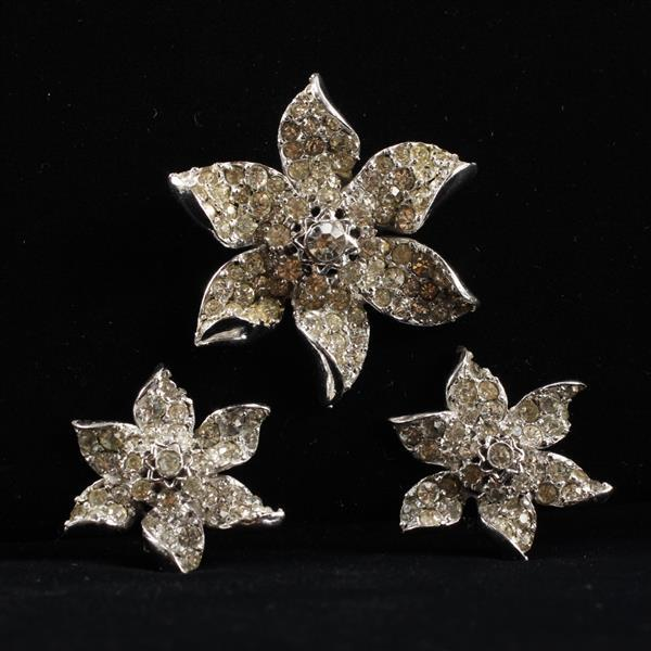 DeRosa 2pc. Sterling Silver Set; Pave Rhinestone Flower Brooch Pin & Clip Earrings