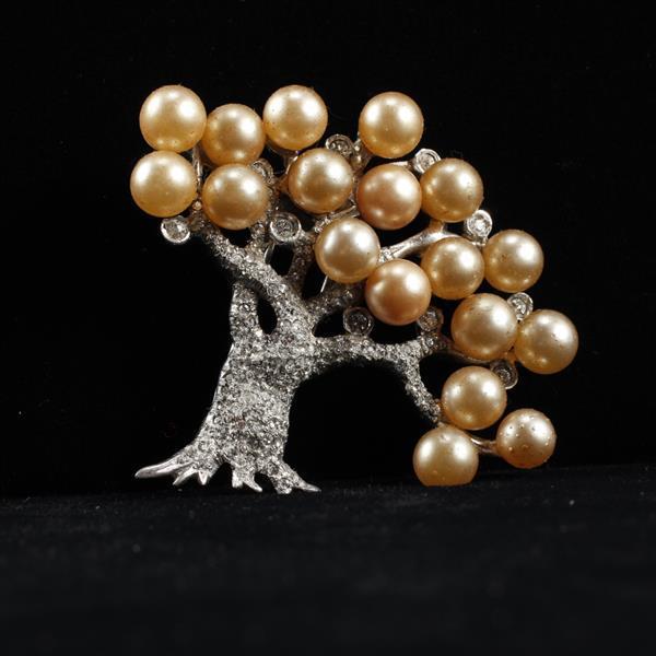 Vintage Pennino Faux Pearl Pave Rhinestone Rhodium Plated Figural Tree Brooch Pin