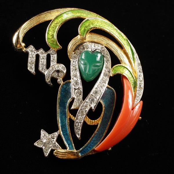 DeNicola Virgo Zodiac Maiden Enamel, Molded Glass, & Rhinestone Brooch Pin