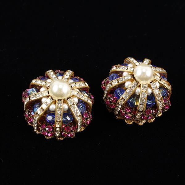 Hattie Carnegie Vintage Designer Faux Pearl, Blue Beads, & Rhinestone Dome Clip Earrings
