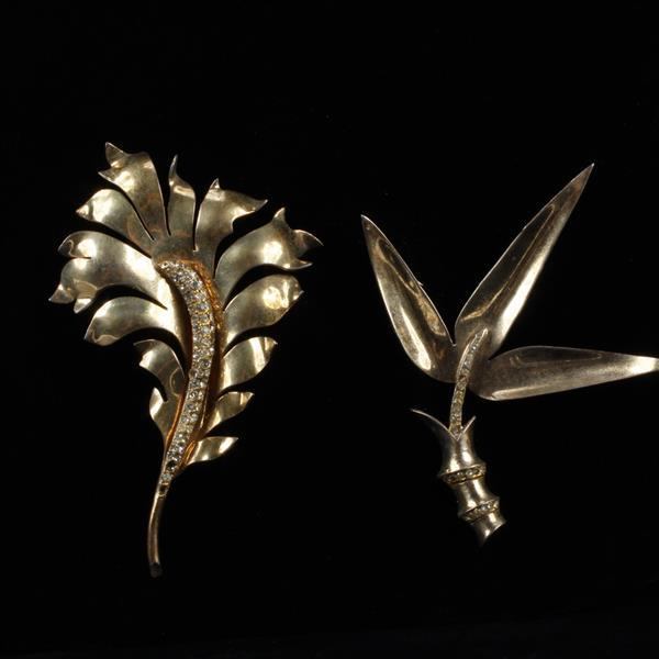 Castlecliff Sterling 2pc. Brooch Pins; Bamboo Leaf with Rhinestones & Fern Leaf with Rhinestones.