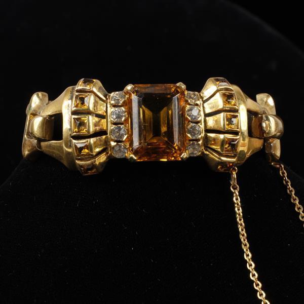 Sterling Gold Tone Retro Bracelet with Amber Glass Jewel & Rhinestones