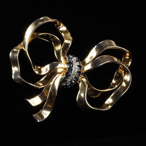 Large Gold Tone Bow with Sapphire Blue & Clear Rhinestones