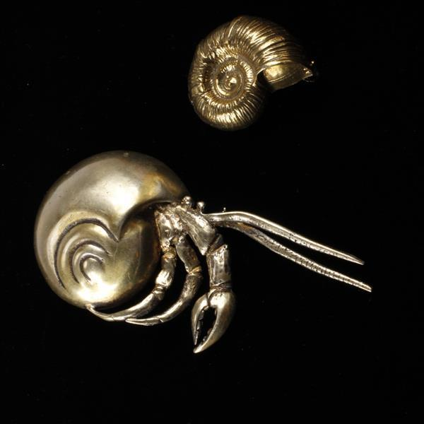 Lot of 2 Brooch Pins; Dunez Original Sterling Hermit Crab & Zentall Gold Tone Shell