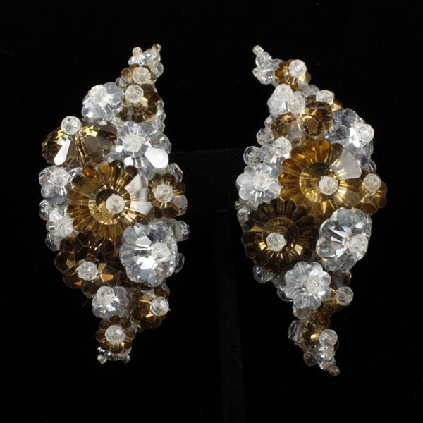 Coppola E Toppo Haute Couture Designer Floral Beaded Clear & Caramel Glass Clip Earrings