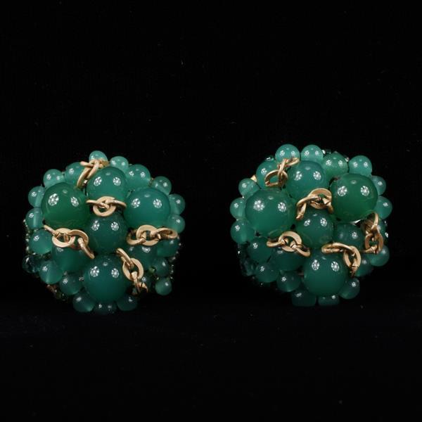 Coppola E Toppo Haute Couture Designer Jade Glass with Interwoven Chain Accent Clip Earrings