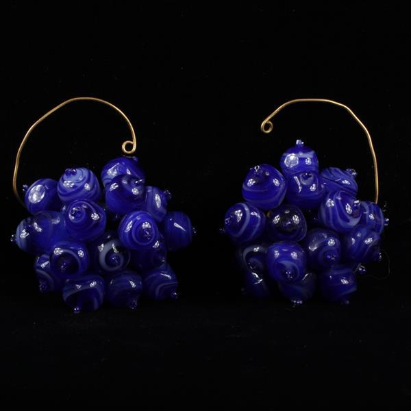 Coppola E Toppo Haute Couture Designer Blue Glass Beaded Cluster Clip Earrings