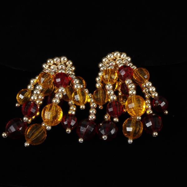 Mimi Di N Beaded Clip Earrings with metal tone, yellow, & red beads.