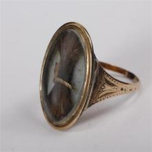 Victorian Unmarked 14K Rose Gold hair receiver memorial ring; 2.3 dwt.