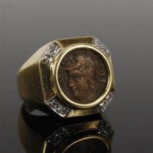 Ancient Roman coin in 18K yellow gold and diamond ring; 6.3 dwt.