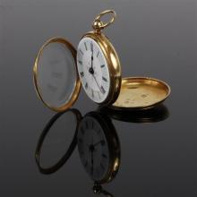 English Victorian 18K gold pocket watch with key; Samuel Quillam, Chester England, 1874. Ticks when wound.