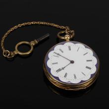Constantine Geneve Cylindre Huit Rubis 18K gold case open face key wind pocket watch. Ticks when wound.