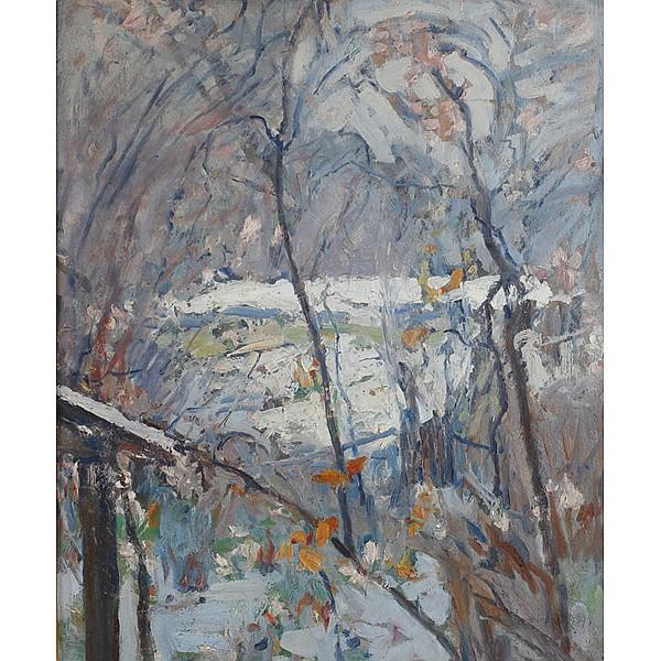 William Forsyth, (American; 1854 - 1935), Winter Landscape, Oil on board, 24