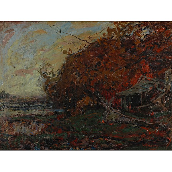William Forsyth, (American, 1854-1935), Autumn Landscape, Oil on board, 17 1/2