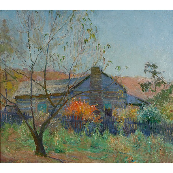 Ada Walter Shulz, (Wisconsin/Indiana; 1870-1928), Grandma Barnes Cabin, Oil on board, 24