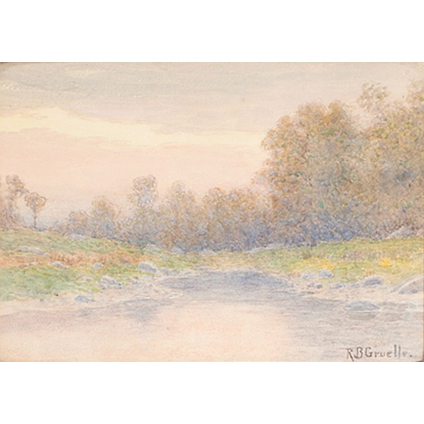 Richard Buckner Gruelle, (1851 - 1914), Hoosier Brown County Impressionist landscape, watercolor on paper, 10