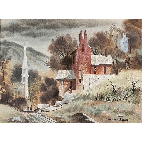 Edward Basker, (Indiana; 1908-1972), rural road with church, watercolor, 11