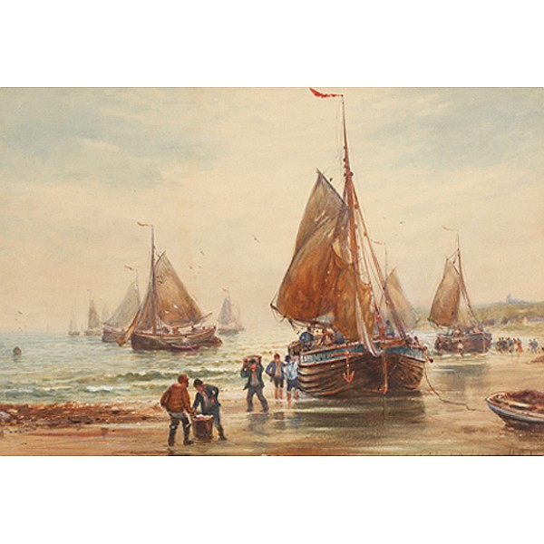 Dutch school 19th Century maritime painting; sailboats at Scheveningen Beach (The Hague) Netherlands.