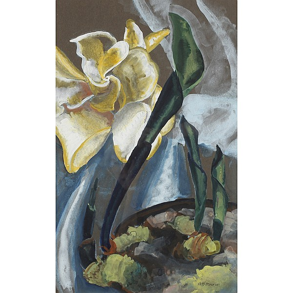 Alfred Maurer, (American; 1868 - 1932), Still life with flower, Watercolor on paper, 21