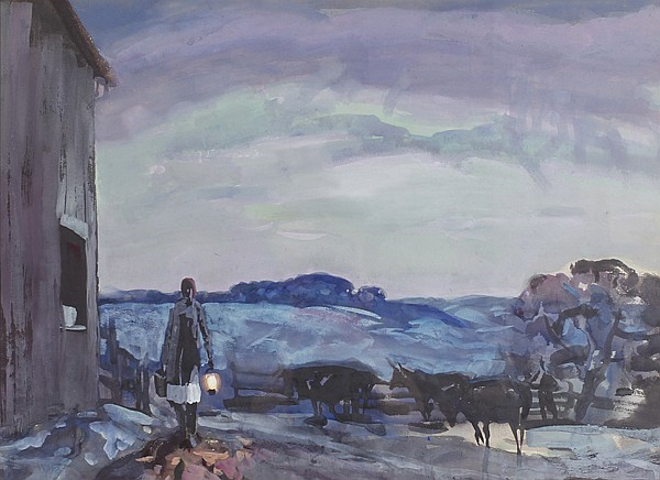 Frank Wilcox, (American/Ohio; 1887 - 1964), The Milkmaid, watercolor/gouache, 21 3/4