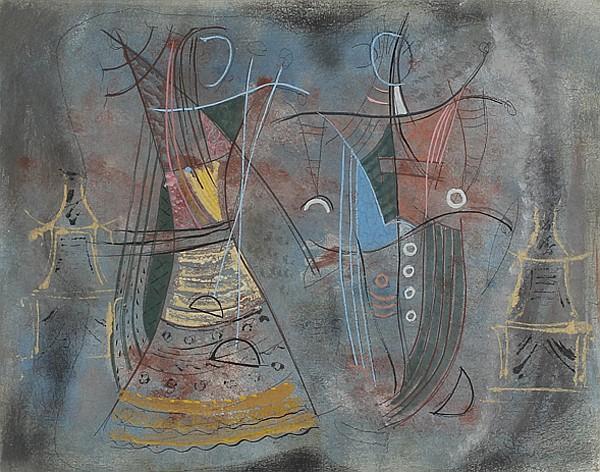 Konrad Cramer, (American; 1888 - 1963), Two Dancers, Casein on board, 16