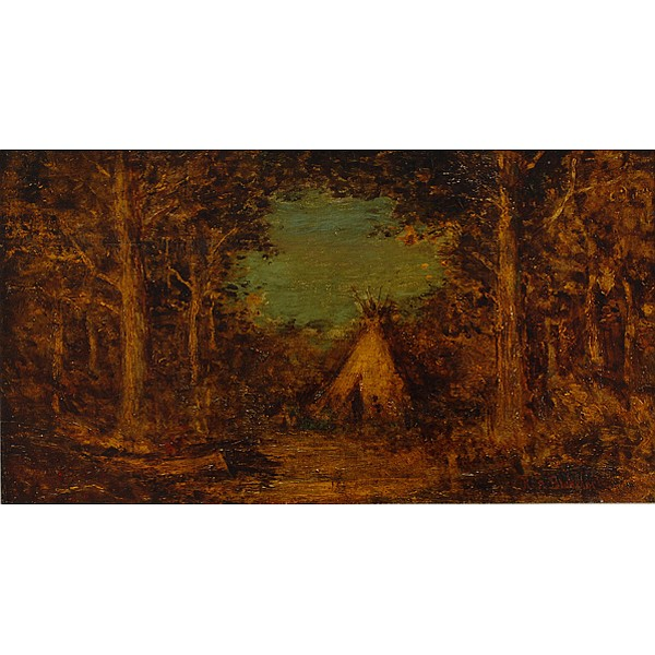 Ralph Albert Blakelock, (American; 1847 - 1919), Indian Encampment, Oil on board, 8 3/4